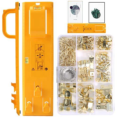 Bildaufhänger mit, KNMY Multifunktions nivellierlineal 221 Stücke Picture Frame Hanger DIYwerkzeug, Picture Hanging Level Tool für Markierungsposition zum Aufhängen von Bildern, Spiegeln und Uhren