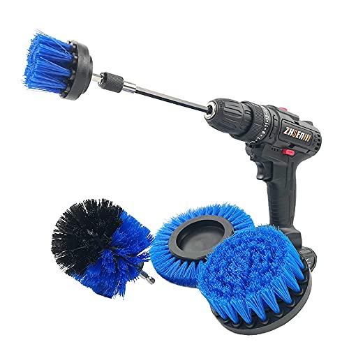 Cepillo De Taladro EléCtrico, 4 Piezas De Scrubber Cepillo Limpieza Conjunto con Extensión para AutomóVil, Alfombra, BañO, Piso, Azulejo (Azul)