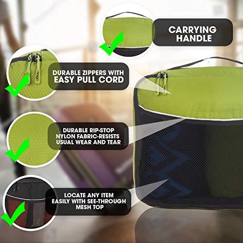 Travel Packing Cubes 4pcs Value Set - Plus 6pcs Ziplock Bags- Green