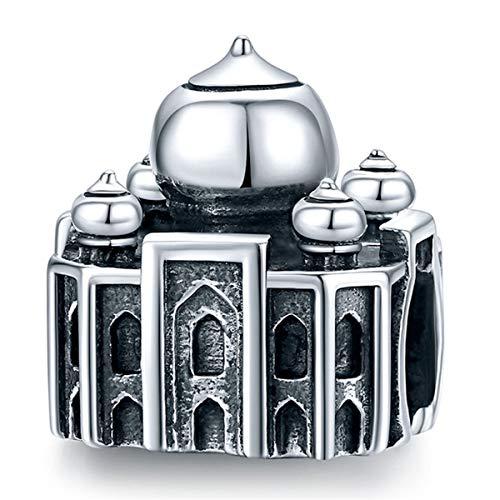 ZiFouDou Abalorio para Pulsera Pandora&Chamilia,Abalorio de Plata de Ley 925,Originales Bead Charm para Collare -Taj Mahal