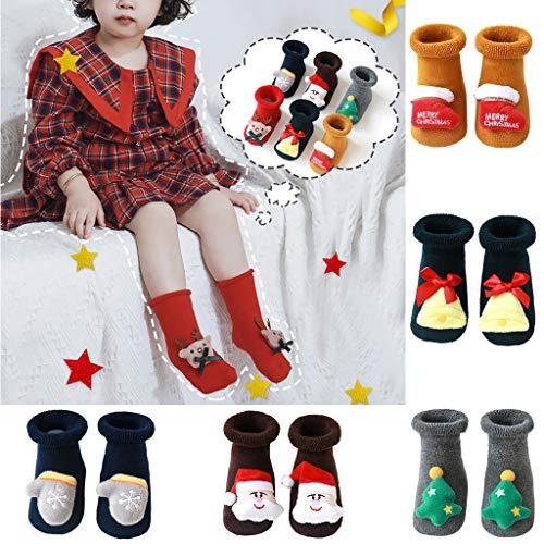 Frashing Babysocken Baumwolle Weihnachtssocken Für Baby 0-3 Jahre Mädchen Jungen Rutschfeste Socken Silikon Weich Socken Bunt Schön Baby Geschenke Für Kinder