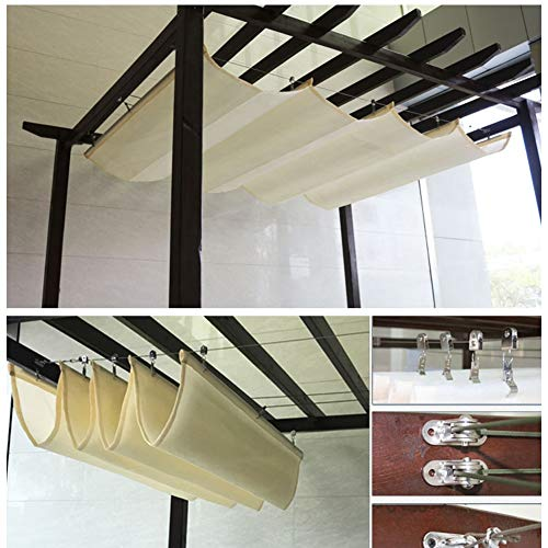 XL&JUN 2020 Updated Version Retractable Wave Canopy Cover Replacement Pergola Awning 90% UV Protection Outdoor Sun Room Terrace Roof Deck Polyester, 31 Sizes Sun protection, heat insulation, sun prote