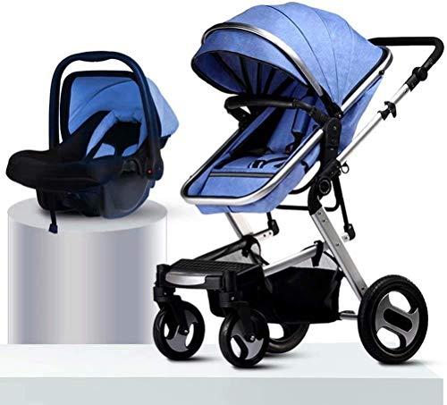 OESFL Viajes cochecito de bebé Cochecito de niño del infante recién nacido paisaje de la alta cochecito de bebé puede sentarse choque en las cuatro ruedas plegable de absorción de dos vías cochecito d
