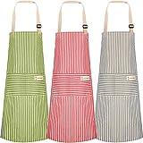 3 Stücke Baumwolle Leinen Kochschürze, Schürze Kochschürze Küchenschürze Latzschürze mit Tasche Verstellbare, Damen und Männer zum Kochen oder Backen