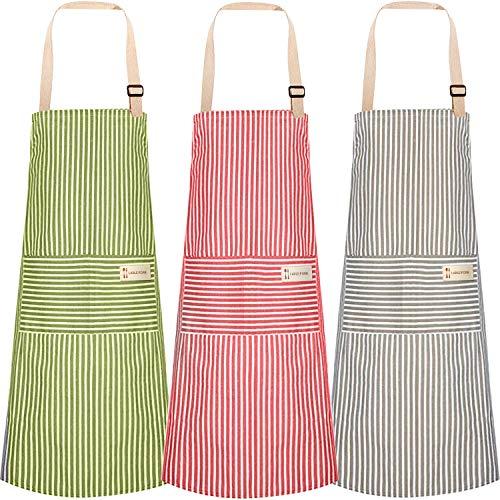 3pcs Cooking Apron with Pocket, Adjustable Cotton Linen Kitchen Apron Chef Apron for Women Men (Stripes)