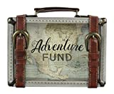 Young's 8.5' x 2' x 6' Buckle Wooden Travel Savings Adventure Fund Suitcase Bank, Multi Color