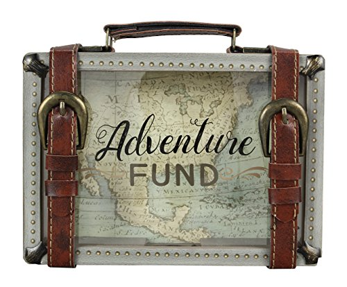 """Young's 8.5"""" x 2"""" x 6"""" Buckle Wooden Travel Savings Adventure Fund Suitcase Bank, Multi Color"""