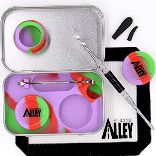 """Wax Carving Travel Kit [PSYCHEDELIC SERIES] - Fits in Pocket - Nonstick Tin with Silicone Jar Containers 5ml (2 units) + Stainless Steel Carving Tool (1) + Mini Carver (1) + Wax Mat 3"""" x 5"""" (1)"""