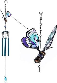 WEISIPU Windwings 3D Butterfly Wind Chimes - Outdoor Metal Windchime Garden Chimes Home Garden Decoration (Blue)