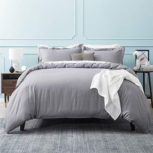 Bedsure Duvet Covers Queen Size Grey - Duvet Cover Queen Set Bedding Comforter Cover with Corner Ties Zipper Closure 90x90 Inch 3 Pieces