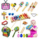 Buself Toddler Musical Instruments 15 Types 25pcs Wooden Percussion Instruments Toy for Kids Preschool Educational, Musical Toys Set for Boys and Girls with Storage Bag