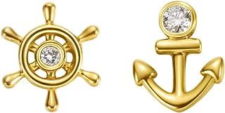 18k Solid Yellow Gold Dainty Tiny Single Statement Earring Delicate Fine Stud Earring For Women Girls