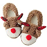 ASHION Women's Cute Fuzzy Reindeer House Slippers Stuffed Animal Bedroom Slippers Cozy Christmas Indoor Shoes, 9-10 US Khaki