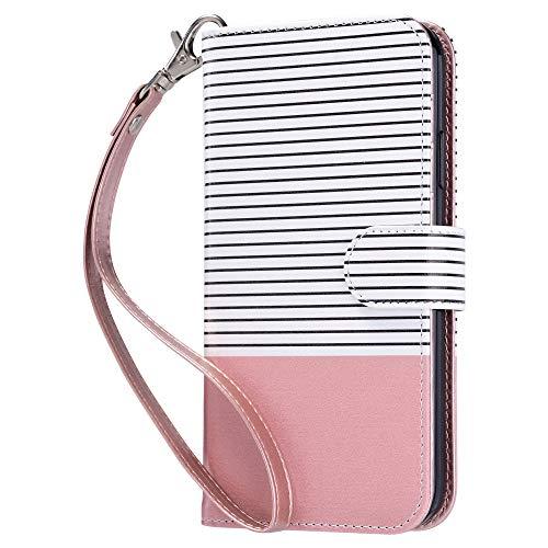 ULAK iPhone 11 Hülle, Premium Lederhülle Flip Cover Tasche Brieftasche Schutzhülle Magnet Handyhülle Standfunktion mit Kartenfächer case Kompatibel für iPhone 11 - Pink Gestreift