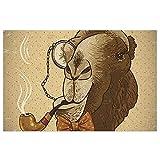 FFLSDR Felpudo Antideslizante Alfombra de Entrada Alfombra Hipster Camel con Tubo Monóculo Vintage Home PVC Entrada Patio Pad 40X60CM