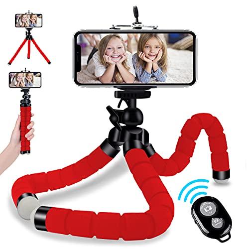 Handy Stativ, Abafia Mini Flexibel Handy Stativ Halterung 360 Grad Drehen, Smartphone Reise Stativ mit Fernauslöser Für iPhone/ Galaxy/ Honor/ Xperia/ Redmi (Aktualisierte Version) Rot
