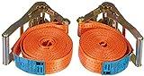 Braun Set de 2 Sangles 4000 Dan, en Une Pièce, pour Les Professionnels Selon DIN en 12195-2, Couleur Orange, Longueur 6 M, Largeur 50 mm, avec Cliquet