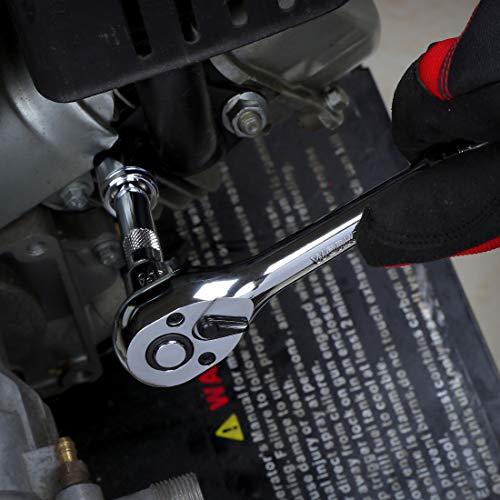 WORKPROソケットレンチセットガレージツールセットラチェットレンチ差込角9.5mm(3/8インチ)クイックリリースラチェットハンドル工具道具セット12点組【鉄製ケース付属】