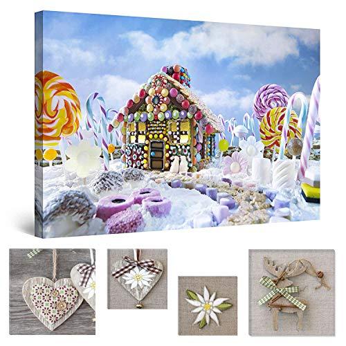 Eco Light Wall Art Bundle sur Toile Candy House pour Enfant Dream Enfants 80 x 120 cm pour décoration intérieure et Lovely Rustique Collage Lot de 4 Moderne encadrés