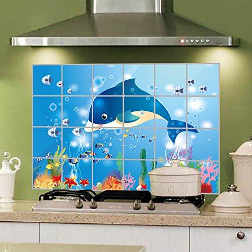 GREGFDE wandsticker PVC behang voor keuken badkamer muurstickers zelfklevende muur papier waterdichte folie 60 * 90 cm Stickers anti-olie Wrap Poster Zoals laten zien