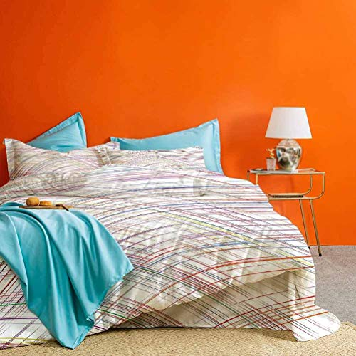 Colorful Bedding Collection Abstract Curved Thin Stripes Color Line Concept Art Crosswise Scribble Hand Drawn Best Hotel Luxury Bedding Multicolor 3 pc (1 Duvet Cover and 2 Pillow Shams) Cal King