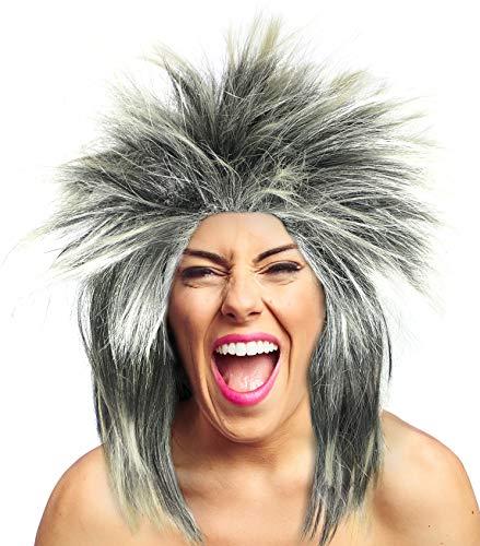 Balinco 80er Tina Rockstar Perücke Perücke schwarz & blond - das perfekte Accessoire für Ihr rockiges Kostüm zum Karneval