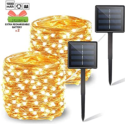 OZS 2-Pack Each 72ft 200LED Solar String Lights Outdoor, Updated Super Durable Solar Lights Outdoor, Waterproof Copper Wire 8 Modes Solar Powered Fairy Lights for Patio Garden Yard Party (Warm White)