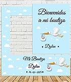 Photocall de Bautizo Niño 100x100cm| Divertido y económico|Detalle de Bautizo de cigüeña| Hazte Unas Fotos Divertidas en el Bautizo de tu Hijo| Personalizable