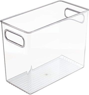 mDesign Caja de plástico Organizador de Juguetes con Asas para recámara de niños/niños, Sala de Juegos, para Guardar Cifras d