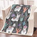 ARIGHTEX Cartoon Llama Alpaca Throw Blanket Gray Llamas Bed Blanket Sets Boho Grey Soft Fleece Blanket (Twin Size 60'x80')