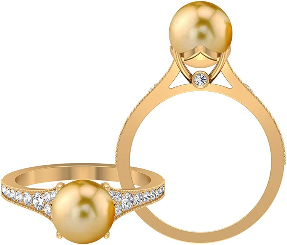 5 CT South Sea Pearl Solitaire Ring Accent Side with Moissanite Max 90% OFF All stores are sold