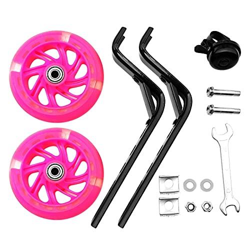 POHOVE Fahrrad Trainingsräder, Flash Mute Wheel Verstellbare Fahrräder Stabilisator Montiert Schwerlast Hinterrad für 12 / 14 / 16 / 18 / 20 Zoll Singlespeed Fahrräder (Pink)