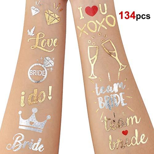 Howaf 134 Stück Junggesellinnenabschied Tattoo Set, Gold jga tattoo Bride Team Braut Hochzeit temporäre Tattoos Junggesellinnenabschied Accessoires Dekorationen/Deko