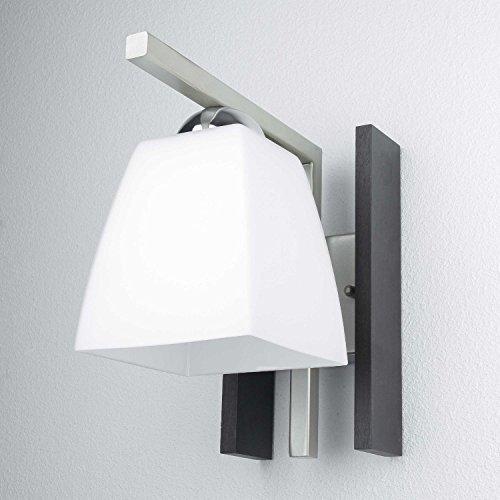Schicke Wandleuchte in Wenge Weiß Bauhaus Design 1x E27 bis zu 60 Watt 230V aus Glas & Metall Flur Wohnzimmer Esszimmer Lampe Leuchten innen