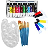 Veczom Acrylic Paint Set 12 Colors Non Toxic Painting Supplies Set 11pcs Brush 2pc Palette for Rock Painting, Canvas, Ceramic, Wood, Professional Artists, Beginners, Students and Kids