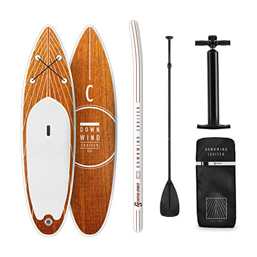 Capital Sports Downwind Cruiser S Stand Up - Tabla Sup Hinchable, Tabla de Surf, 305 x 10 x 77 cm, Tecnología DoubleLayer & DropStitch, Set Completo, Mochila de Transporte de 55L, Naranja