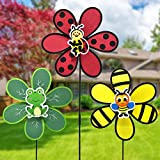 FENELY Garden Pinwheels Wind Spinner Whirligigs Kids Toys for Yard Decor Windmill Lawn Outdoor Decorations Bee Beetle Frog Decorative Garden Stakes Whimsical Baby Gifts Bird Deterrent
