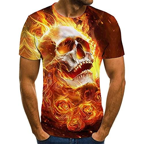 EMPERSTAR Disfraz de Esqueleto de Halloween con Calavera, Camiseta Negra para nios L