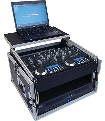 Tego Pro 27268 Winkelrack 4/10 HE mit Laptop Ablage - Kombi Case, L-Rack, DJ Rack 19