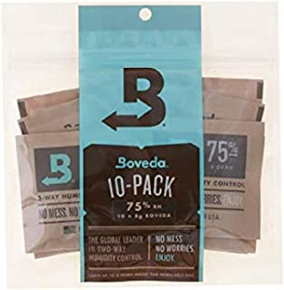 Boveda 75% RH 2-way Humidity Control 8 Gram 10-Pack, Humidifier/Dehumidifier Travel w. Your Cigars for Small Jars & Bags