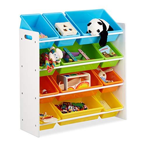 Relaxdays Scaffale per Bambini con Box Porta-Giochi, Contenitori Colorati per Giocattoli, MDF+Plastica, 88x86x31 cm