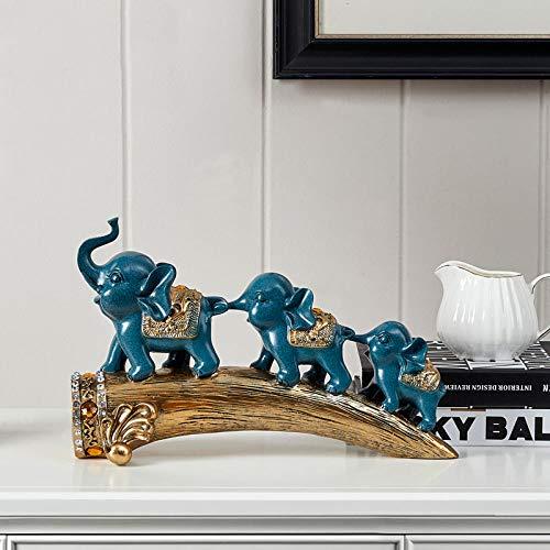 BGHYU Tres pequeños Elefantes decoración de Animales Sala de Estar Armario de TV Armario de Vino decoración Escultura-B_34 * 12 * 21 CM