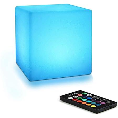 Mr.Go 10cm Cube Lumineux LED Veilleuse pour Enfants avec Télécommande, Dimmable Réglable, 16 ÉclairageCouleurs, Changement de Couleur Lampe de Chevet Lampe d'ambiance pour Chambre