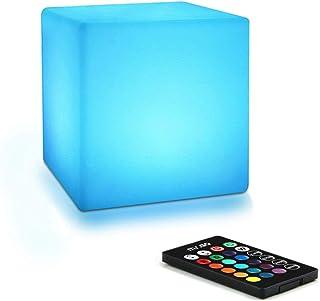 Mr.Go 10cm Cube Lumineux LED Veilleuse pour Enfants avec Télécommande, Dimmable Réglable, 16 ÉclairageCouleurs, Changemen...