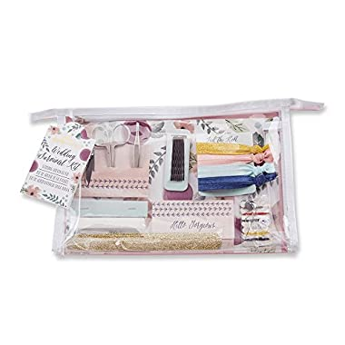 Kate Aspen Wedding Survival Kit, Bridal Shower Gift Set with Cosmetic Bag, Floral