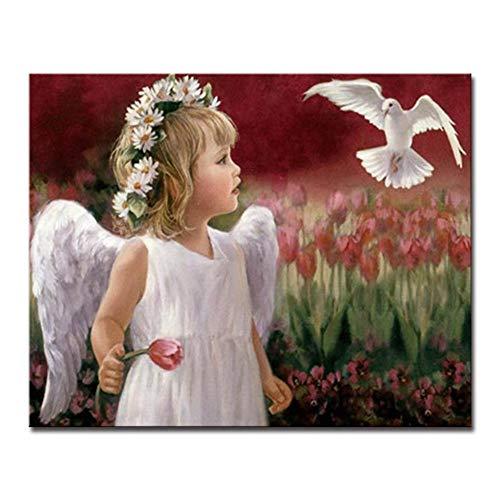 DIY Ausmalbilder Nach Zahlen Ölgemälde Engel Kind Und Weiße Taube Kalligraphie Leinwand Für Wohnzimmer Zeichnung (Kein rahmen) 50x70 CM