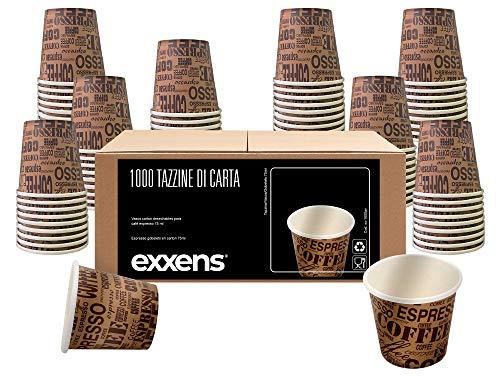 Exxens 1000Pz Bicchierini Tazzine Caffè 75ml Biodegradabili di Carta Ecologici Bio Compostabili Usa E Getta (avana beige 75ml)