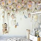 XIAOHUKK Papel pintado autoadhesivo de PVC 3d pintado a mano rosa flor mariposa pintura al óleo moderna para el hogar dormitorio cocina muebles decoración vinilo
