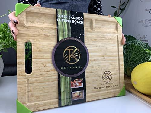 OKTHANNA Snijplanken Premium bamboe voor keuken, 3 ingebouwde verdelers en handige sapgroeven + groene siliconen hoeken Perfect voor antislip