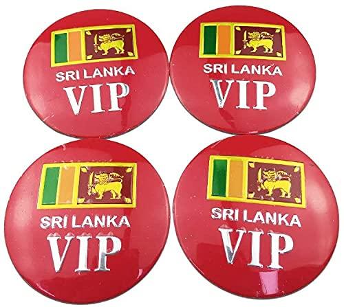 4 Piezas Tapacubos, para Sri Lanka Flag Jeep Civic Peugeot Volkswagen, Impermeable Antióxido Decoración Accesorios Tapas Centro Rueda, Modificadas Hub Caps con Emblema, 56mm